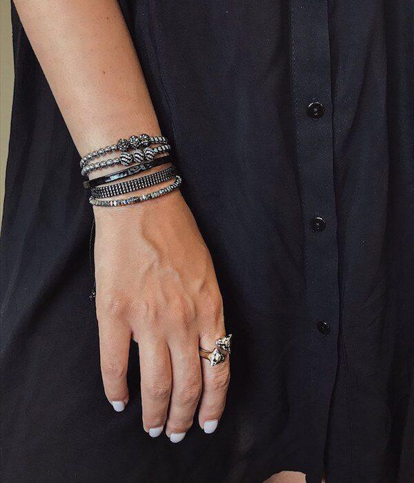 Σετ από 5 Ασημένια Βραχιόλια σε Λεπτή γραμμή & 1 δαχτυλίδι Πάνθηρα
