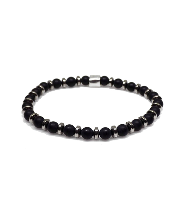 black onyx & silver hematite