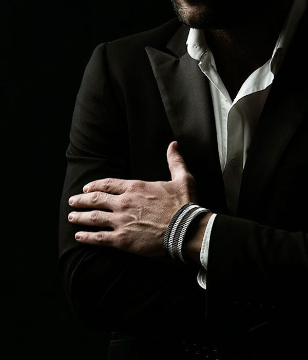 silver & black bezel cuff
