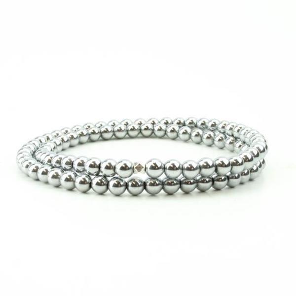 Double wrap hematite bracelet