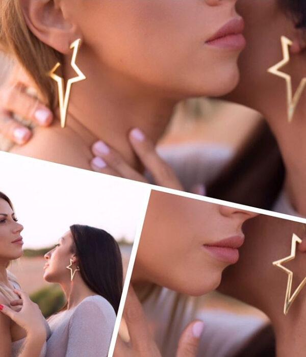 Gold Big Star Earrings