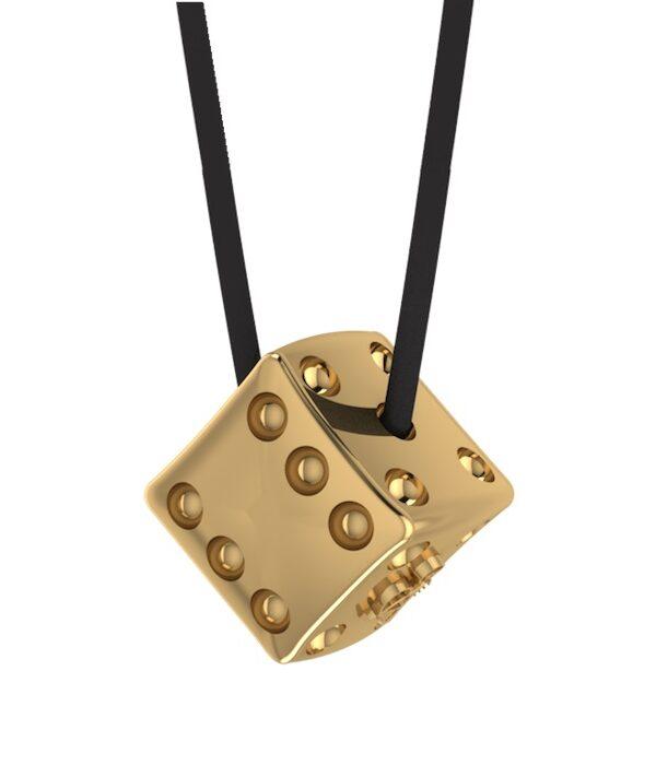 Χειροποίητο Unisex Κρεμαστό Ζάρι σε χρυσό χρώμα
