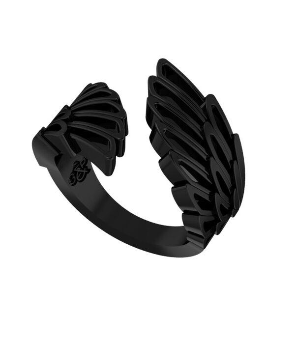 μαυρο δαχτυλιδι φτερο