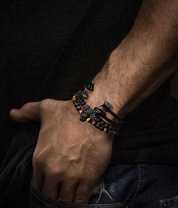 Black Skull bracelet Tiger Eye