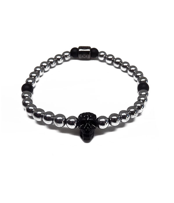 black skull with silver stones