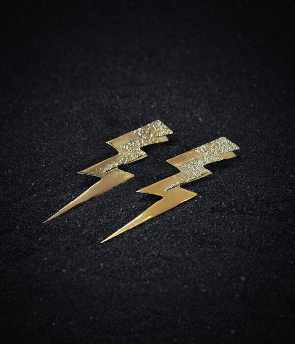 gold thunder earrings
