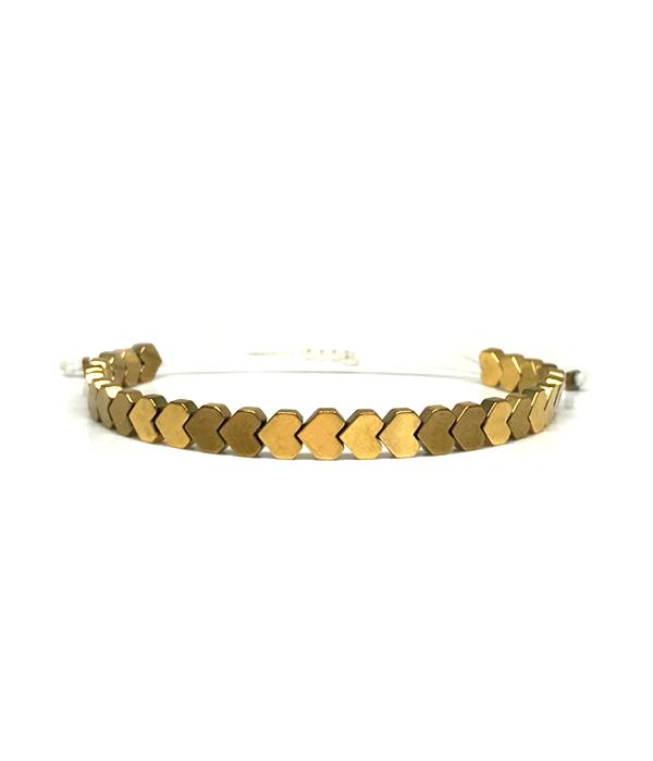 Gold Heart bracelet hematite