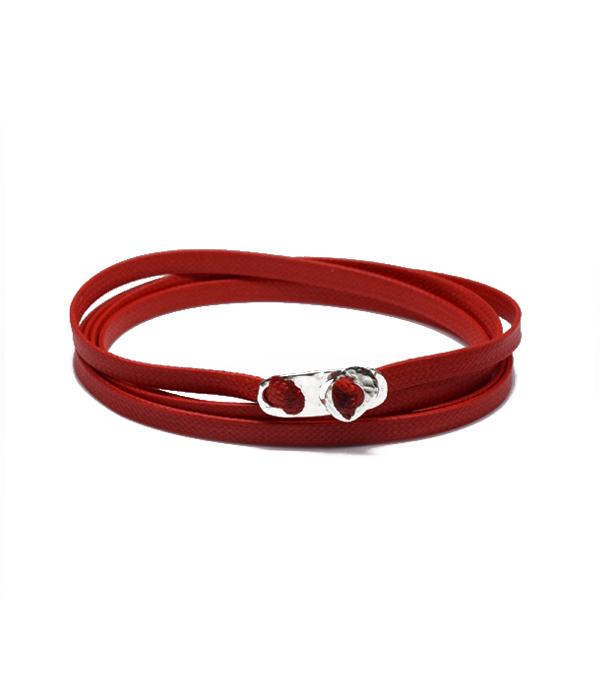Κόκκινο Δερμάτινο τυλιχτό κορδόνι με Ασήμι 925