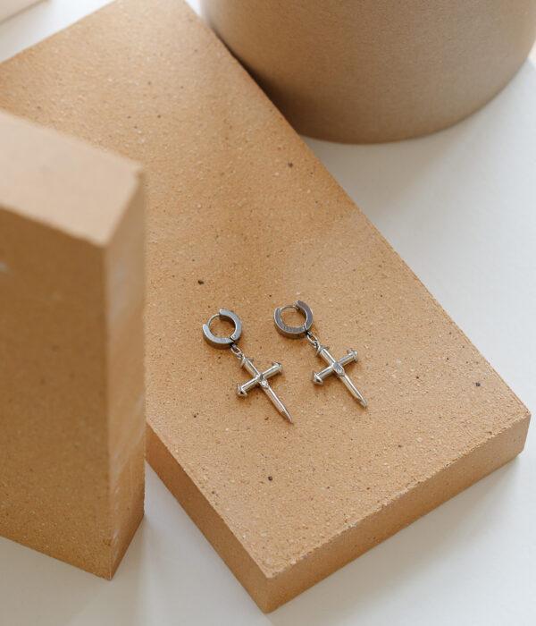 Σκουλαρίκια Silver Cross with white Zircon