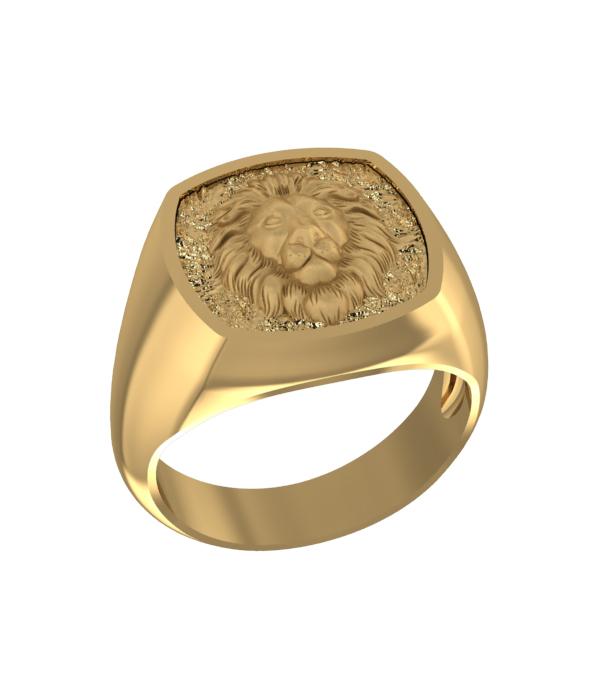 δαχτυλιδι λιονταρι σε χρωμα χρυσο απο ασημι 925