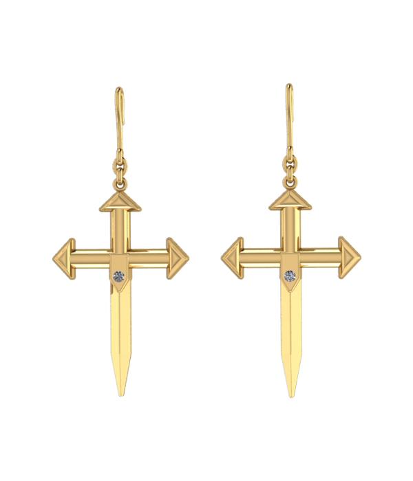 Σκουλαρίκια χρυσα με σχεδια σταυρο