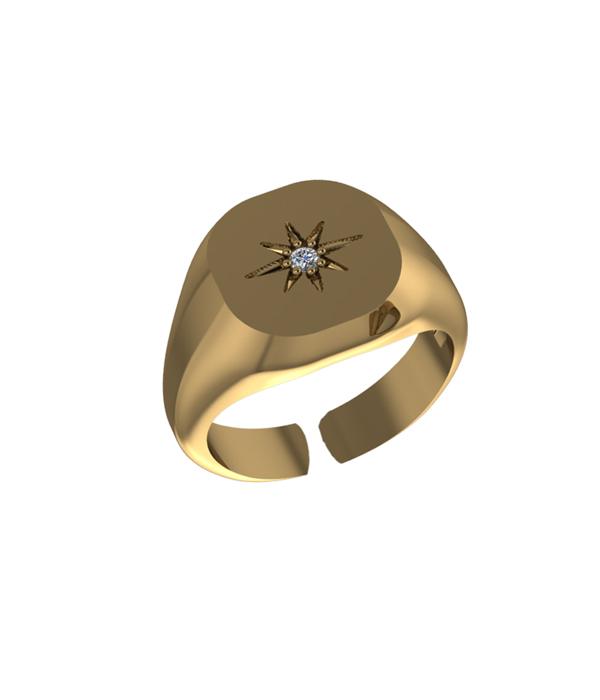 δαχτυλιδι αστερι χειροποιητο σε χρωμα χρυσο