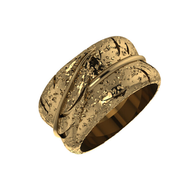 Gold Feather Ring silver 925