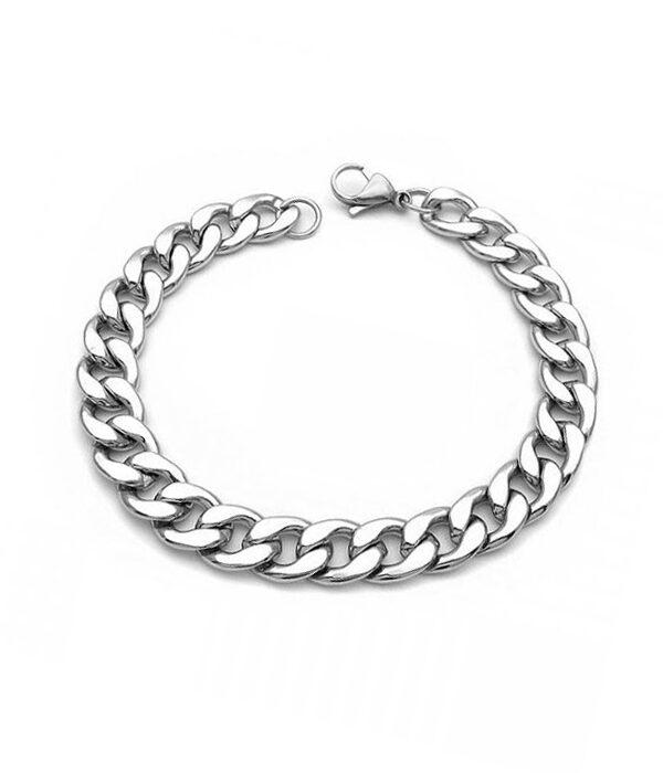 Silver steel chain bracelet