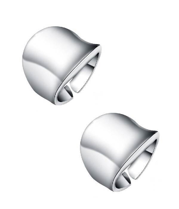 Σετ από 2 Ασημένια δαχτυλίδια Wave (Silver 925)