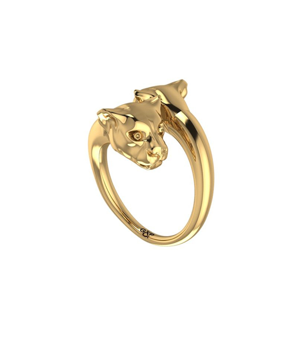 Gold panther ring