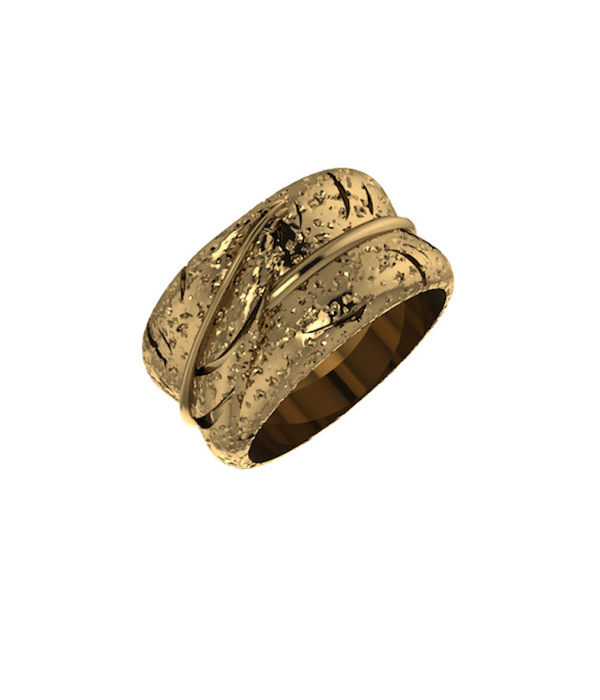 Feather Ring Gold plated 925