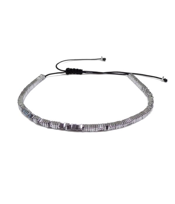 Silver Hematite Bracelet Slime Line