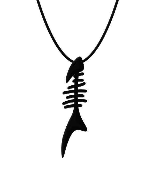 black fishbone necklace