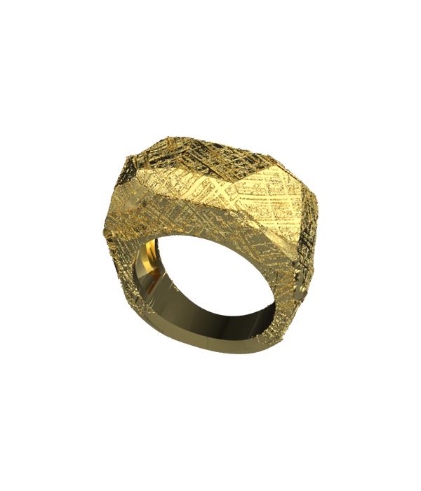gold meteorite ring 925