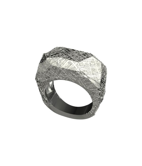 silver meteorite ring 925