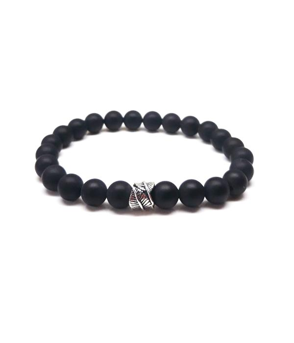 Onyx bracelet with silver 925 Feather