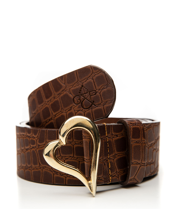 Gold Heart Taba Croc belt