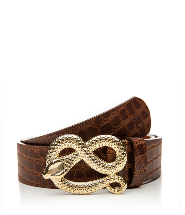 Gold Snake Croc Taba belt