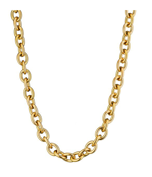Gold Oval Chain Necklace 24K