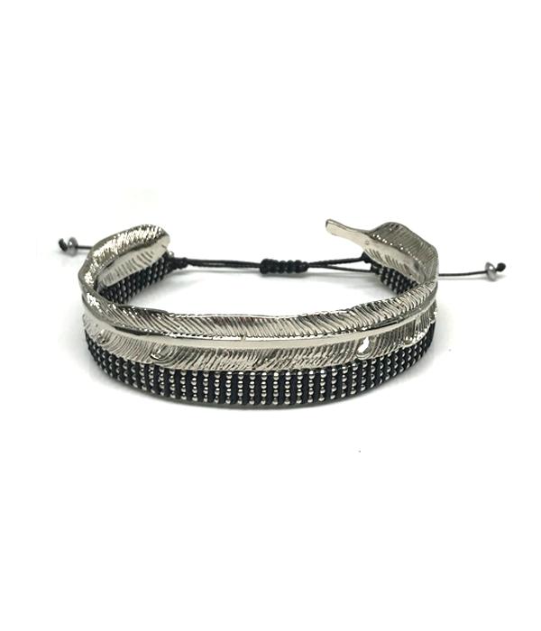 Feather Cuff bracelet & wrap chain