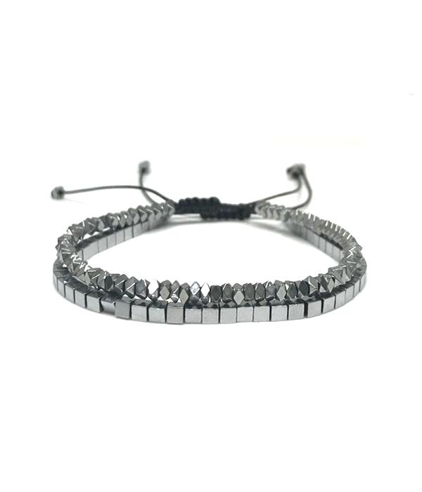 Silver Hematite Disc Bracelets