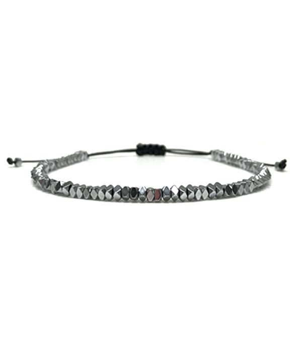 Silver Hematite Disc bracelet