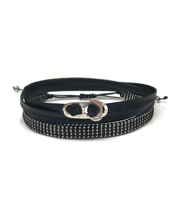 Wrap chain bracelet with black wrap cord