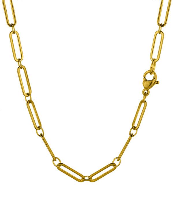 Χρυσή πλακέ ανοξείδωτη αλυσίδα Λαιμού