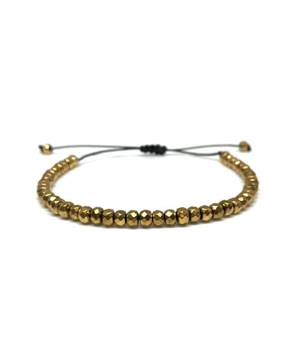 Gold Hematite Round Bracelet