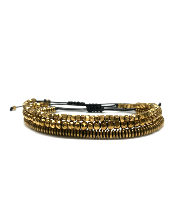 Set of 3 Gold Hematites bracelets