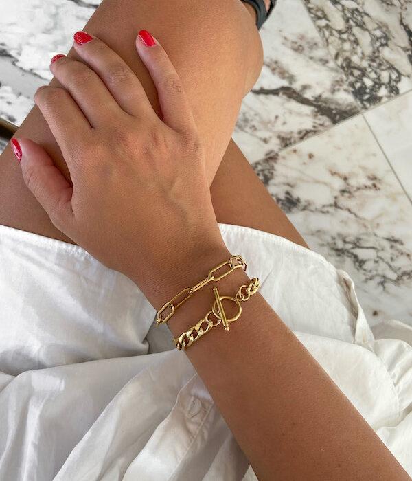 Gold Chunky Bracelet X Gold Cable bracelet