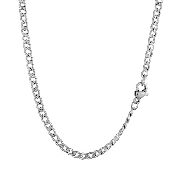 Silver Cuban Stainless Necklace 4mm (Unisex)
