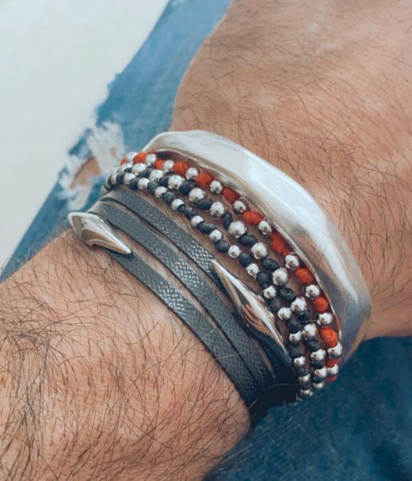 Bracelet Silver Wave Cuff (Mens)