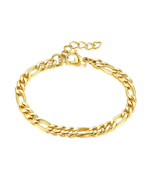 Gold Figaro Chain bracelet 24K