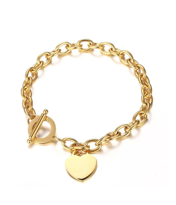 Gold Oval Link Chain Heart bracelet