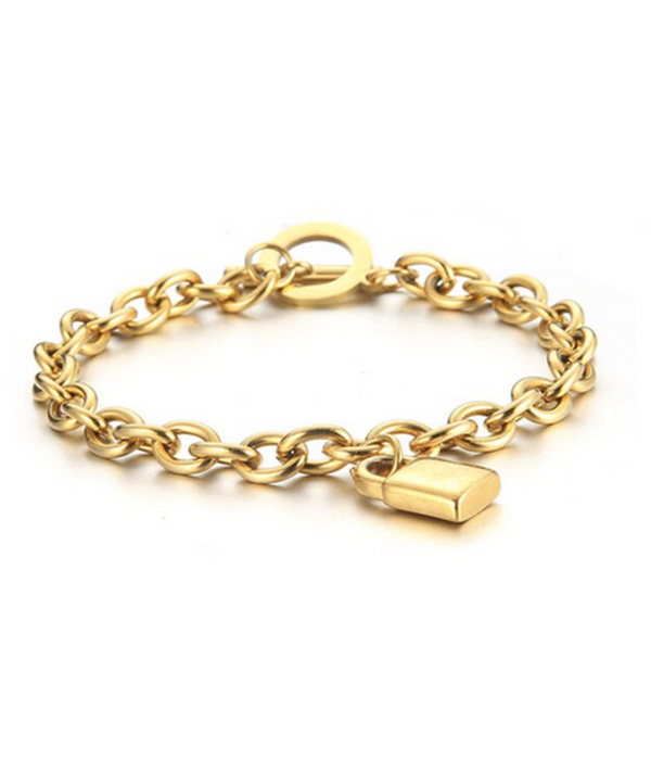 Padlock Gold bracelet Stainless