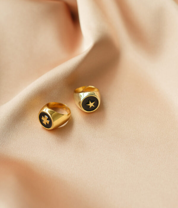 Gold Cross & Star Rings Chevalier