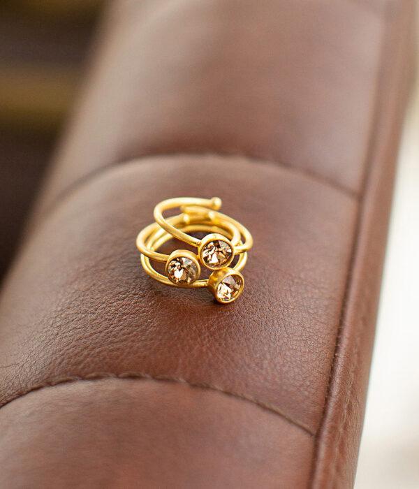 χειροποίητα δαχτυλίδια με πέτρες swarovski σε στρόγγυλο σχήμα
