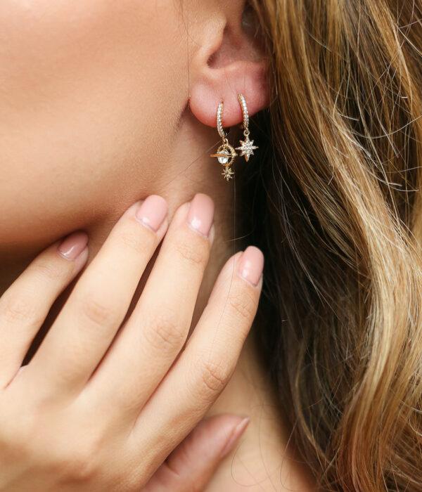 Σετ απο 2 σκουλαρίκια επίχρυσα με ζιργκον σχήμα Αστέρι & Κρόνος