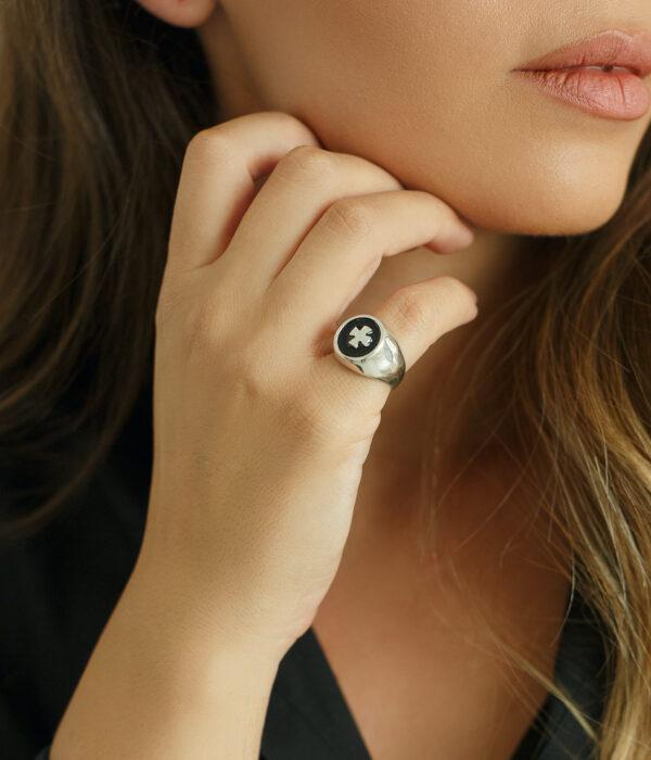 Silver Cross Ring Brass