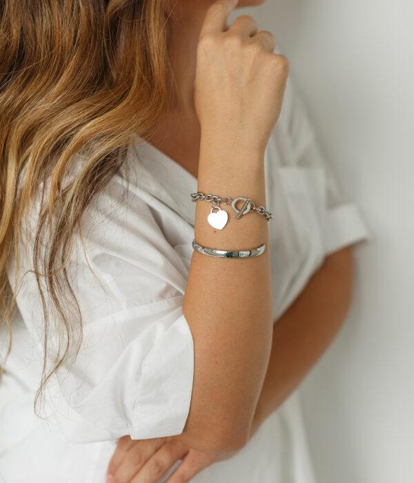 Silver Chain Heart Bracelet (Stainless)