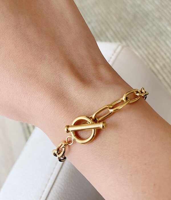 Gold Cable bracelet 15mm (Stainless)