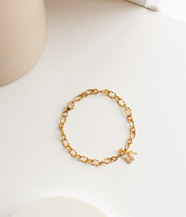 Gold Anklet Calisto with Padlock (Waterproof)