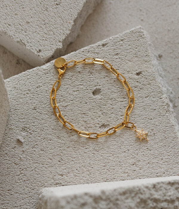 Gold Anklet Cymone with Starburst (Waterproof)